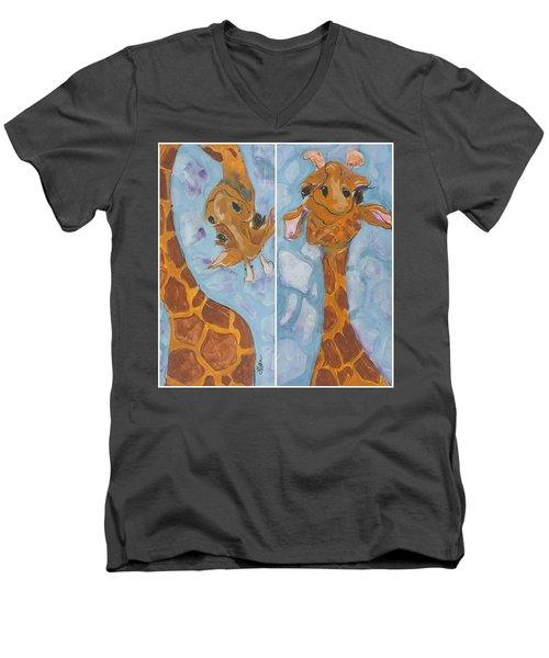 Giraffe Set Men's V-Neck T-Shirt by Terri Einer