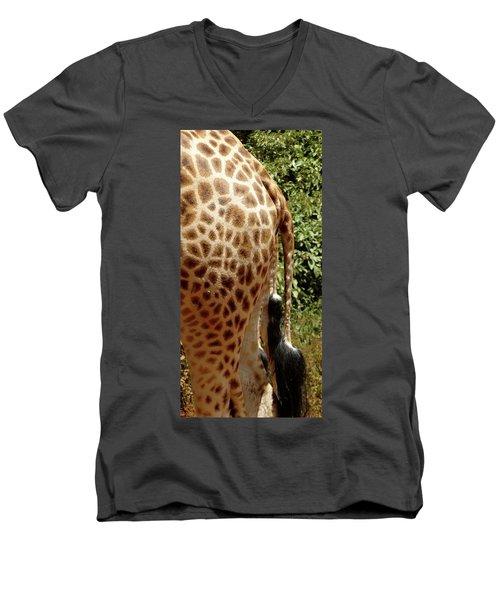 Giraffe Tails Men's V-Neck T-Shirt by Exploramum Exploramum