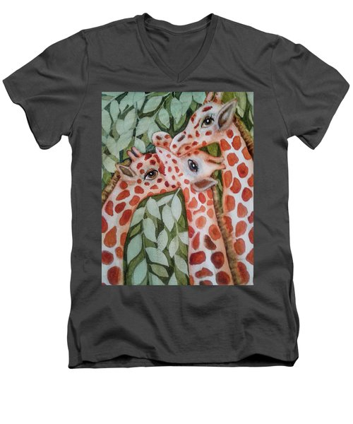 Giraffe Trio By Christine Lites Men's V-Neck T-Shirt