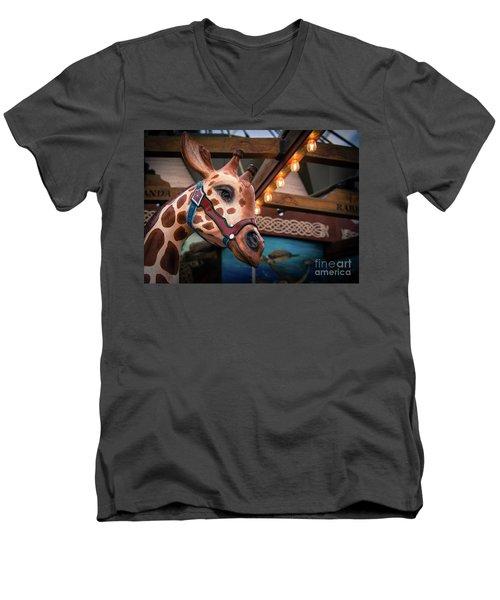Giraffecarousel Men's V-Neck T-Shirt by Lisa L Silva