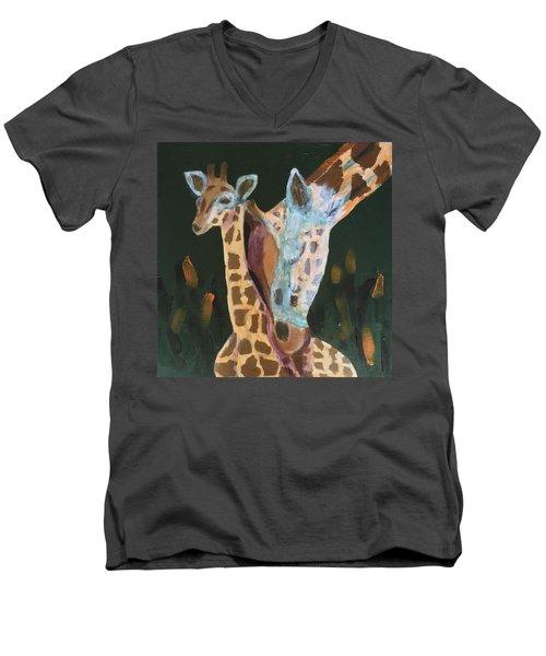 Giraffes Men's V-Neck T-Shirt by Donald J Ryker III