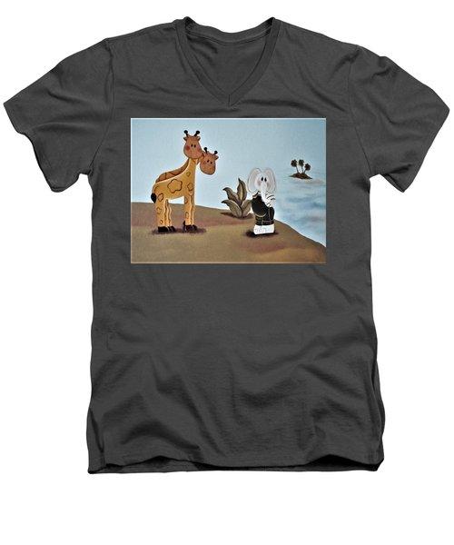 Giraffes, Elephants And Palm Trees Men's V-Neck T-Shirt