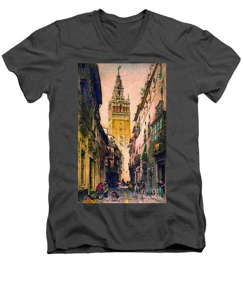 Giralda 1916 Men's V-Neck T-Shirt by Padre Art