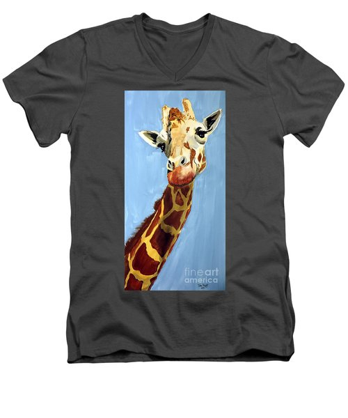 Men's V-Neck T-Shirt featuring the painting Girard Giraffe by Tom Riggs