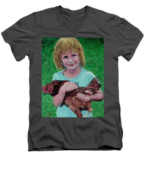 Girl And Chicken Men's V-Neck T-Shirt by Stan Hamilton