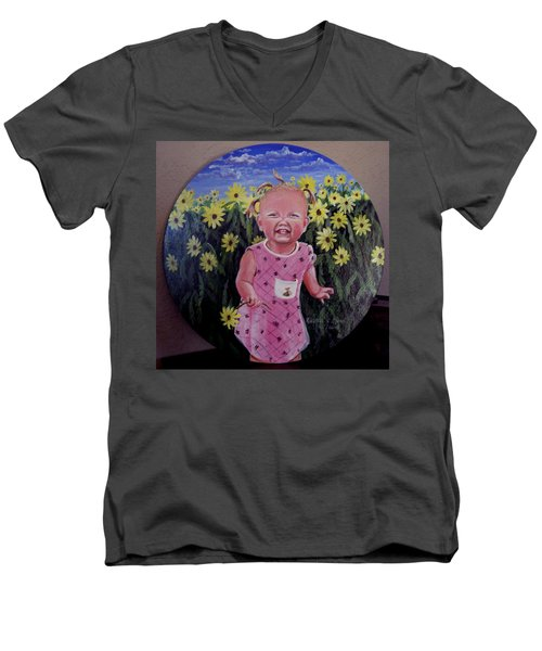 Girl And Daisies Men's V-Neck T-Shirt by Ruanna Sion Shadd a'Dann'l Yoder