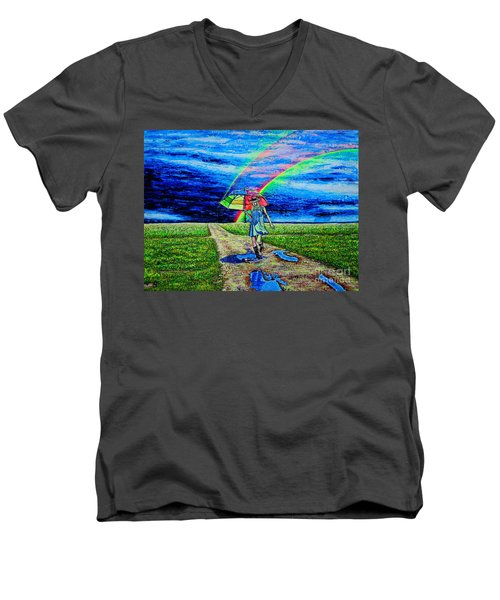 Men's V-Neck T-Shirt featuring the painting Girl And Puddle by Viktor Lazarev
