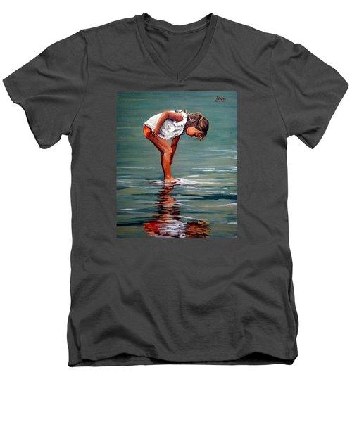 Girl At Shore  Men's V-Neck T-Shirt