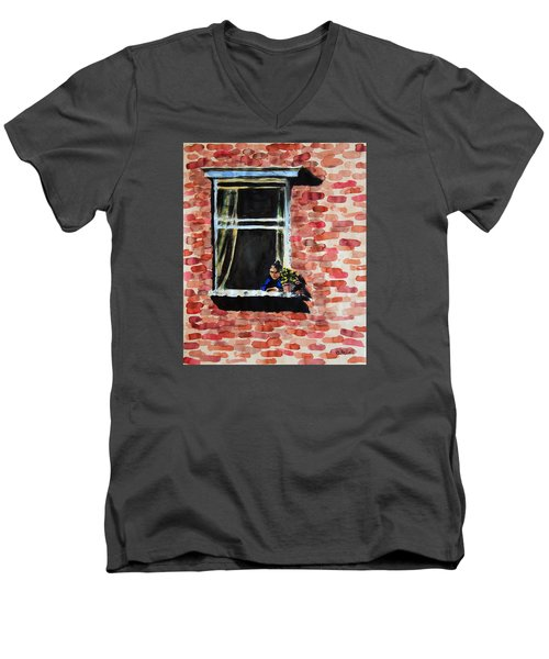 Girl At Window Men's V-Neck T-Shirt