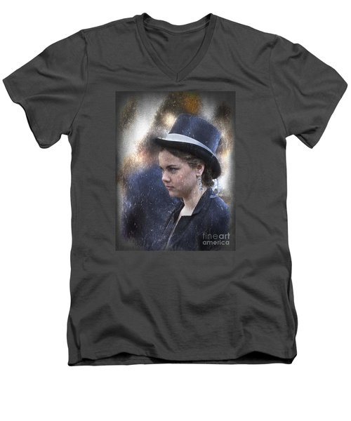 Girl In A Dark Blue Hat Men's V-Neck T-Shirt by Elaine Teague