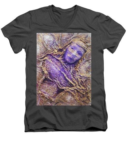 Girl In Purple Men's V-Neck T-Shirt
