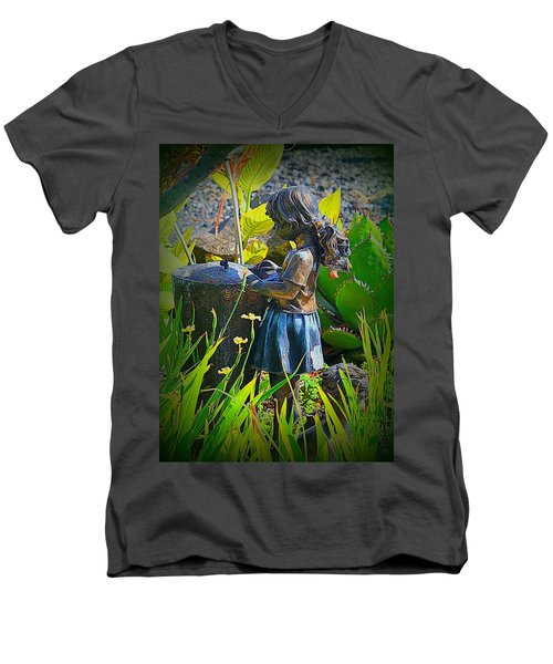 Men's V-Neck T-Shirt featuring the photograph Girl In The Garden by Lori Seaman