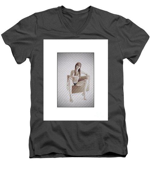 Girl In Underwear Sitting On A Chair Men's V-Neck T-Shirt