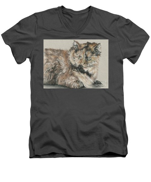Men's V-Neck T-Shirt featuring the drawing Girl  by Meagan  Visser
