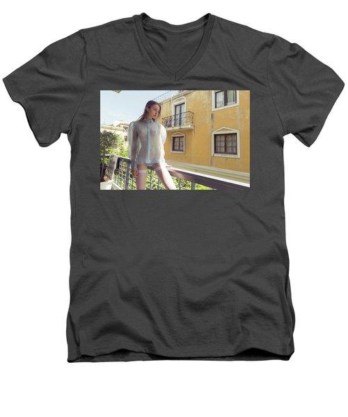 Girl On Balcony Men's V-Neck T-Shirt