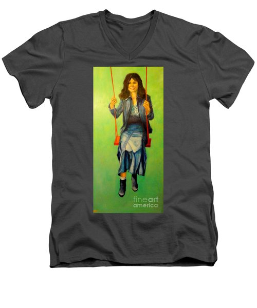 Girl On The Swing  80x160 Cm Men's V-Neck T-Shirt