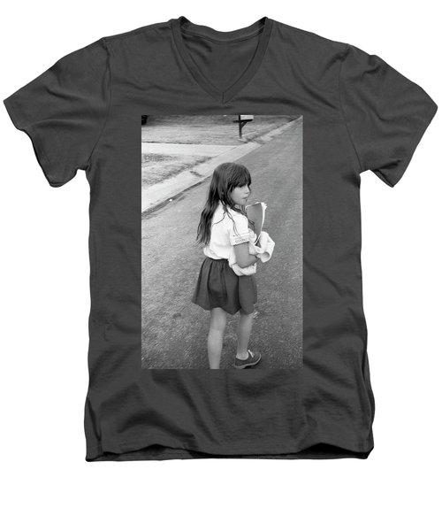 Girl Returns Home From School, 1971 Men's V-Neck T-Shirt