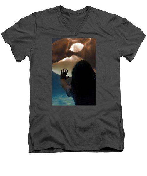 Men's V-Neck T-Shirt featuring the photograph Girl Vs Whale by Bob Pardue
