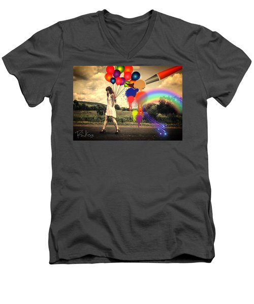 Girl Walking With Balloons #2 Men's V-Neck T-Shirt by Diana Riukas
