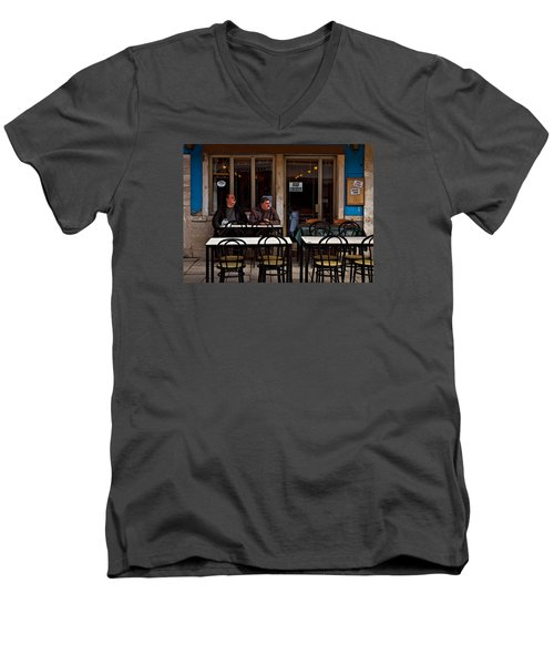 Men's V-Neck T-Shirt featuring the photograph Girl Watching by Laura Ragland