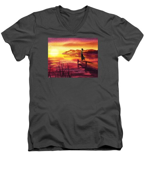 Men's V-Neck T-Shirt featuring the painting Girl Watching Sunset At The Lake by Irina Sztukowski