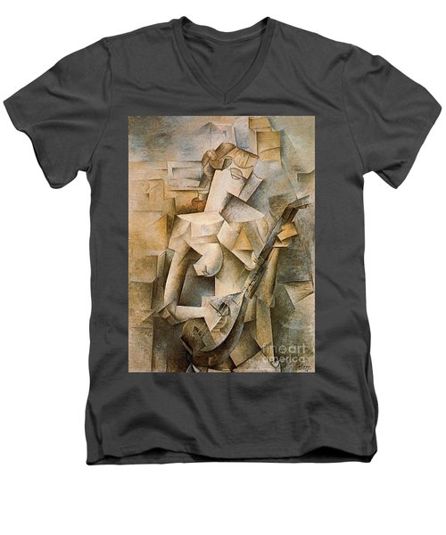 Girl With A Mandolin Men's V-Neck T-Shirt by Picasso