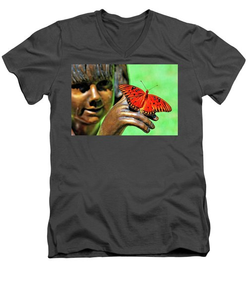 Girl With Butterfly Men's V-Neck T-Shirt
