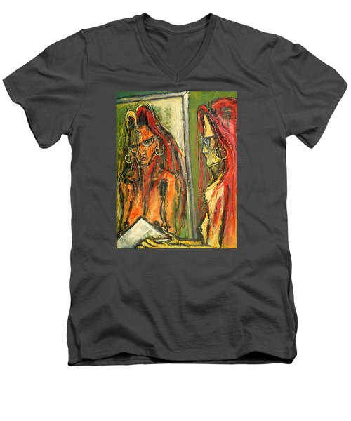 Men's V-Neck T-Shirt featuring the painting Girl With Eye Glasses--self-analysis by Kenneth Agnello