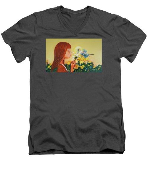 Girl With Flower Men's V-Neck T-Shirt