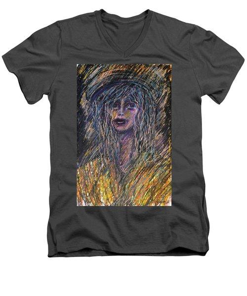Girl With Hat Men's V-Neck T-Shirt