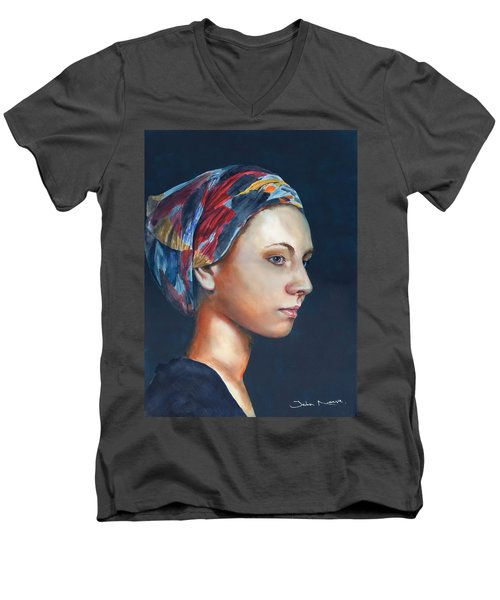 Girl With Headscarf Men's V-Neck T-Shirt