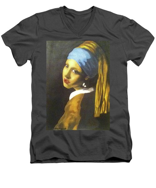Men's V-Neck T-Shirt featuring the painting Girl With Pearl Earring by Jayvon Thomas