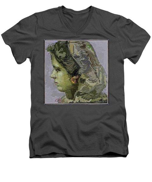Girl With Yellow Earring Gwye2 Men's V-Neck T-Shirt by Pemaro