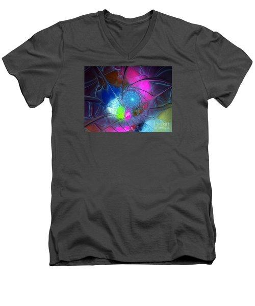 Men's V-Neck T-Shirt featuring the digital art Girls Love Pink by Karin Kuhlmann