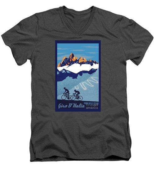 Giro D'italia Cycling Poster Men's V-Neck T-Shirt by Sassan Filsoof