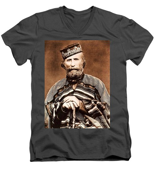 Men's V-Neck T-Shirt featuring the photograph Giuseppe Garibaldi by Roberto Prusso