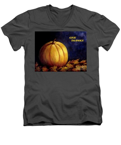 Give Thanks Autumn Painting Men's V-Neck T-Shirt by Annie Zeno