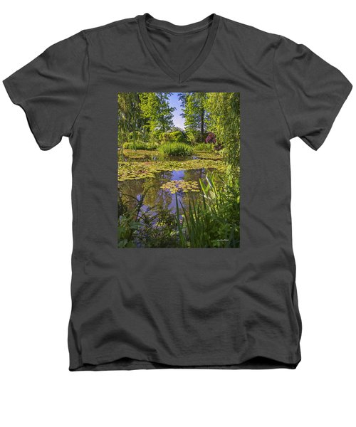 Men's V-Neck T-Shirt featuring the photograph Giverny France - Claude Monet's Pond  by Allen Sheffield