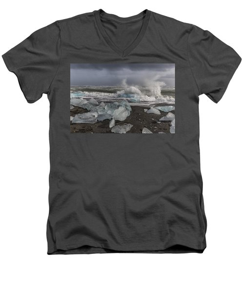 Men's V-Neck T-Shirt featuring the tapestry - textile Glacial Lagoon Iceland 2 by Kathy Adams Clark