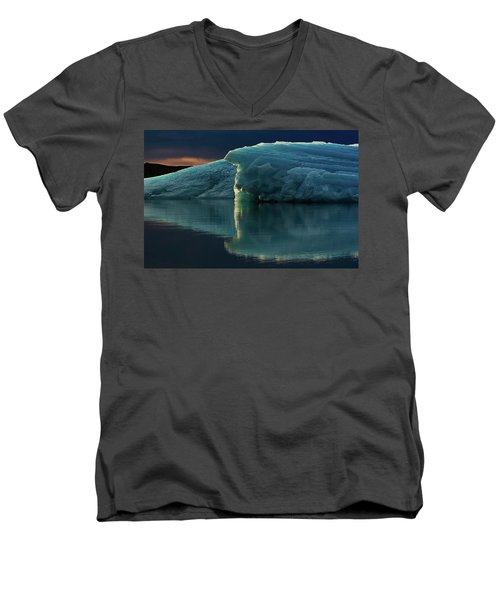 Men's V-Neck T-Shirt featuring the photograph Glacial Lagoon Reflections by Allen Biedrzycki