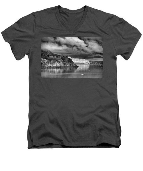 Glacier Bay Alaska In Bw Men's V-Neck T-Shirt
