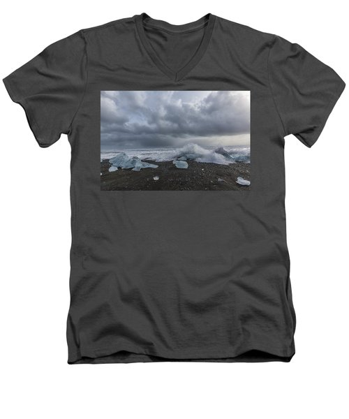 Men's V-Neck T-Shirt featuring the tapestry - textile Glacier Ice 2 by Kathy Adams Clark