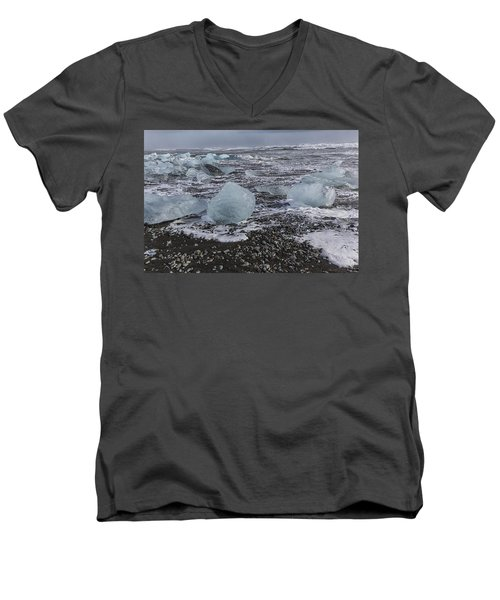 Men's V-Neck T-Shirt featuring the tapestry - textile Glacier Ice 3 by Kathy Adams Clark