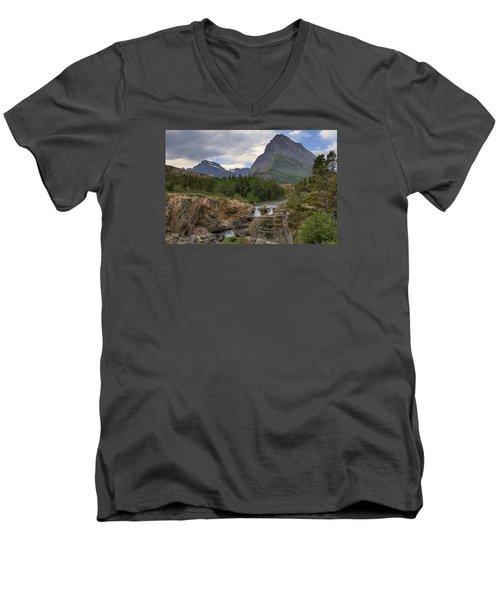 Glacier National Park Landscape Men's V-Neck T-Shirt by Alan Toepfer