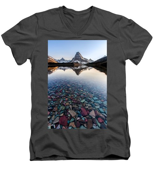 Men's V-Neck T-Shirt featuring the photograph Glacier Skittles by Aaron Aldrich