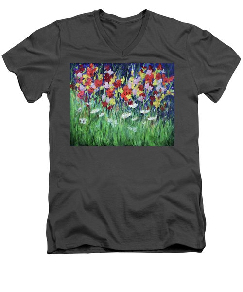 Glad All Over Men's V-Neck T-Shirt by Lee Beuther