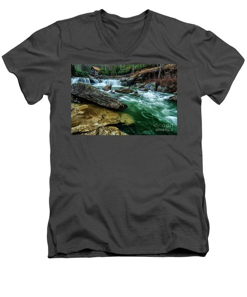 Glade Creek And Grist Mill Men's V-Neck T-Shirt