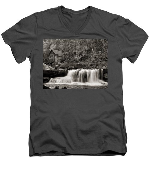 Glade Creek Grist Mill Monochrome Men's V-Neck T-Shirt