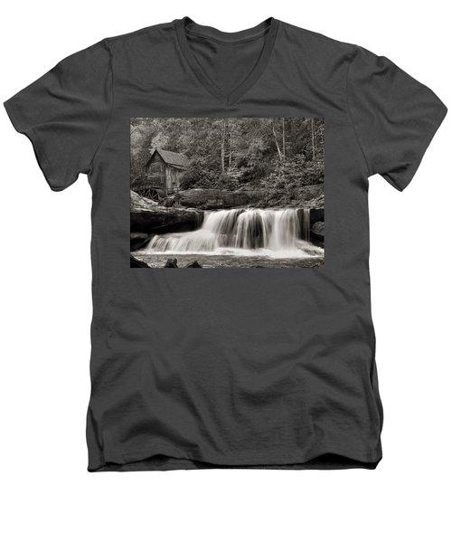 Glade Creek Grist Mill Monochrome Men's V-Neck T-Shirt by Chris Flees