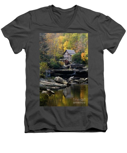 Men's V-Neck T-Shirt featuring the photograph Glade Creek Grist Mill - D009975 by Daniel Dempster